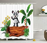 MSGDF Animal Decor Shower Curtain Set, Cute Baby Panda Standing on a Tree Trunk Tropical Flowers Big Leaves Colorful Art, Bathroom Accessories, 60 X 72inch, Green Brown