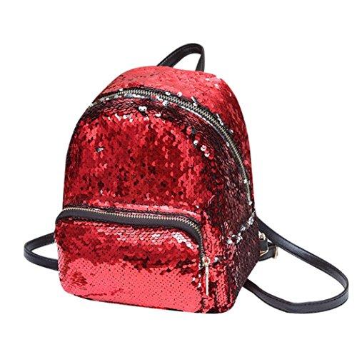 Malloom® Mädchen Pailletten Leder Schultasche Rucksack Schultasche Trave Schultertasche Mode Pailletten Schulter diagonal Schultertasche Schultasche (rot) (Kalbsleder Schulter Tasche)