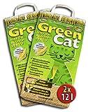 Green Cat Lettiera 2X 12L, Confezione Risparmio, naturale klump Streu per gatti