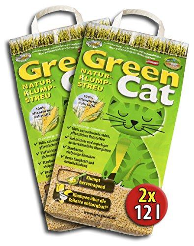 Katzenstreu Green Cat 2 x 12 L, Vorteilspack, Naturklumpstreu für Katzen