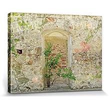 Muros - Muro De Un Jardín Romantico Cuadro, Lienzo Montado Sobre Bastidor (80 x 60cm)