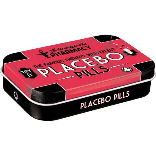 Nostalgic Art Pilulier style rétro avec inscription Placebo et dragées à la menthe poivrée incluses