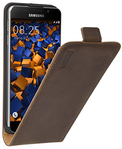 mumbi PREMIUM Leder Flip Case für Samsung Galaxy A3 (2016) Tasche braun