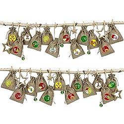 Papierdrachen 24 Adventskalender Stoffsäckchen im Jute Look zum Befüllen - mit rotem Bäkergarn und Klammern - Stoffbeutel zum selber Dekorieren - Geschenksäckchen
