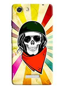 Omnam Skelton Printed Back Cover with Color Back Ground for Micromax Unite 3