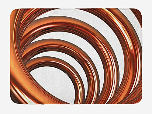 Abstract Bath Mat, Helix Coil Curved Spiral Pipe Swirled Shape on White Backdrop Print, Plush Bathroom Decor Mat with Non Slip Backing, 23.6 WX 15.7 W Inches, Dark Orange and White