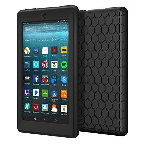 MoKo Hülle für All-New Amazon Fire 7 Tablet (7 Zoll - 7. Generation, 2017 Modell) - [Honey Comb Series] Leichte Rutschfeste Stoßfeste Silikon Schutzhülle Protector Case, Schwarz