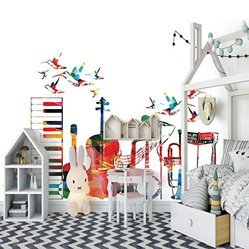 Fotomurale strumento musicale colorato su sfondo bianco 350x256 cm decorazioni pareti fotomurale tessuto non tessuto soggiorno tv parete di fondo