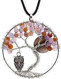 b7c102edf3a7 EVBEA Collar Mujer Colgante Arbol de la Vida con Húho Redondo Chakra del  Ccuerda De Cuero Collar De Piedras Preciosas De La Cadena…
