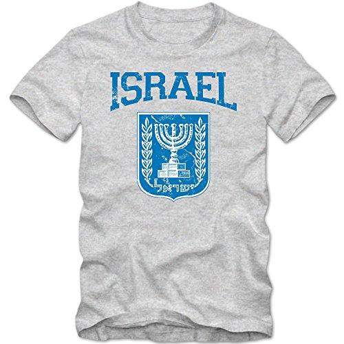 Israel Emblem T-Shirt | Vorderasien | Olivenzweig | Jerusalem | Herrenshirt © Shirt Happenz Graumeliert (Grey Melange L190)