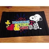 Alfombra con diseño de snoopy 100 x 170 negro penauts charlie brown love peace love