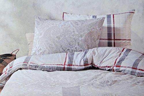 Comtesse Luxury Line BETTWÄSCHE 4tlg 135 x 200 cm I 155 x 220 cm Bettbezug Bettgarnitur mit Reißverschluss, Farbe:Paisley Grey, Größe:135 cm x 200 cm