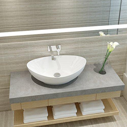 Anaelle Pandamoto Lavabo Vasque à Poser en Céramique sur Salle du bain, Taille: 59 x 38.5 x 20cm, Poids: 5kg, Blanc