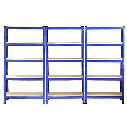 3 Estanterías T-Rax de Acero Sin Tornillos Azules 75cm x 30cm x 150cm