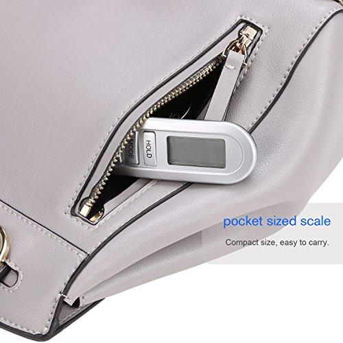 Homdox Digital Gepäck Skala mit Wiegen Rack, Tara und Auto Halten Funktion, LCD-Display Hängende Skala, 50kg / 110lbs Kapazität, Silber Schwarz - 4