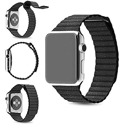 Per Apple Watch Band, Loop in Vera Pelle Con Magnete Lock Strap Ricambio Fascia per Apple Watch Tutti i Modelli no fibbia necessario