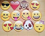 CHSYOO 12x Paper Party Supplies Adornos de Foto de Emoji Foto Panel Photo Booth Props, Favores de Fiesta para la Boda Fiesta de gallina Cumpleaños Baby Shower Kids Party Navidad Año