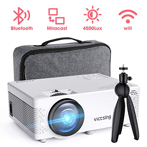 Mini Beamer,VicTsing Full HD 4500 Lumen WiFi&Bluetooth LED Projektor, 1080P HD 170 '' Display 40000 Stunden, Wireless Video Beamer Kompatibel mit Smartphone, TV Stick, HDMI, VGA, SD, AV, USB,Weiß