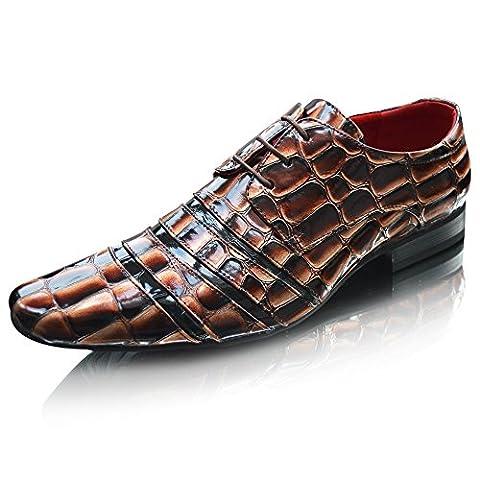 Smart Cover en cuir pour homme Noir/Marron Fashion Line-Croc-dérapant sur l'apprentissage formel Lacets plats pour chaussures Taille 7, 8, 9, 10 11 - - Brown Croc Lace Up,