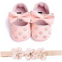 Zapatos Bebe BBsmile Recién Nacido Bebe Niñas Zapatos de Encaje Y  BowknotDiadema de Brillante para Bautismo 1d01bc261d1