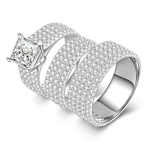 ng Silber Ring für Frauen Quadrat mit weißen Zirkonia CZ Double Ring Set Band Ring Größe 63 (20.1) ()