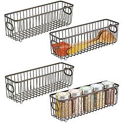 mDesign panier de rangement en métal (lot de 4) – boîte en métal flexible pour la cuisine, le garde-manger, etc. – panier en métal compact multi-usage avec poignées – bronze
