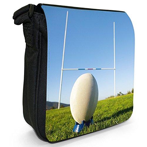 Team-Pallone da Rugby Coppa del Mondo-Piccola borsa a tracolla in tela, colore: nero, taglia: S Ball Ready For Penalty Kick