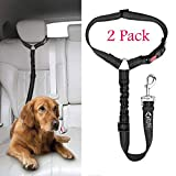 Headrest Dog Car Seat Belt with Anti shock Elastic Bungee Buffer Adjustable Durable Headrest Seat belt Pet Dog Car Safety Harness Restraint 【2 Pack 】.