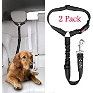 Headrest Dog Car Seat Belt 2 Pack Adjustable with Elastic Nylon Bungee Buffer Durable Headrest Seat belt Pet Dog Car Safety Harness Restraint.