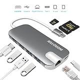 USB C Hub Inordtek Type C Hub Adapter mit Typ C Ladeanschluss, HDMI Port, Gigabit LAN, SD-Kartenleser, Micro SD-Kartenleser, 3 USB 3.0 Ports für Typ C Geräte wie MacBook, MacBook Pro, Google(Grau)