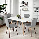 Coavas Dining Chairs Set of 4 Fabric Kitchen Chairs with Sturdy Metal Legs for Dining Room, Grey