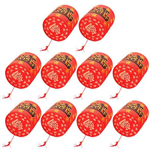 Papierlaterne,Chinesische Laternen,10 STÜCKE Faltbare Handheld Glück Rot Papierlaternen für Chinesisches Neujahr Frühlingsfest Party Feier Dekoration