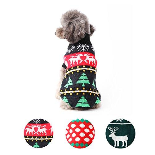 per Hund Knit Pullover Mantel Schneeflocke Weihnachten Rentier Welpen warmen Haustier Kleidung (Cute Dog Kostüme Muster)