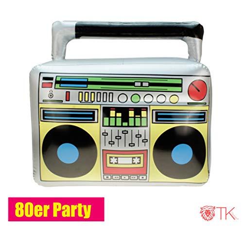 TK Gruppe Timo Klingler Aufblasbarer Retro Ghettoblaster Hip Hop Radio Walkman 80er 90er Party Accessoires Kostüm Fasching Karneval Bad Taste - 80er Jahre Kostüm Für Gruppen