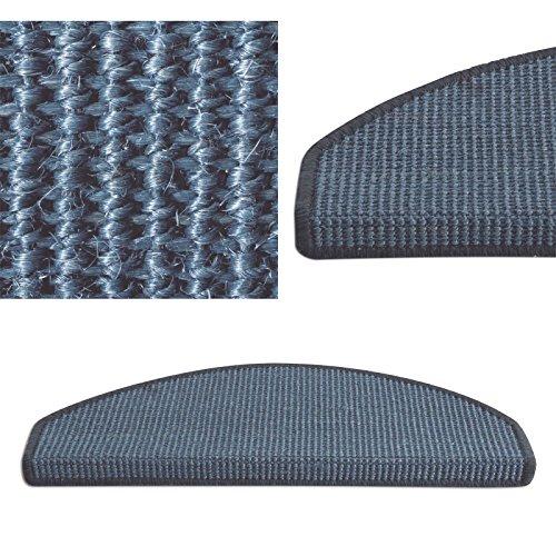15 Stück Pure Nature Sisal Stufenmatten Set - Größen nach Wahl, Blau