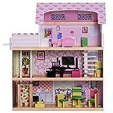 Homcom Casa de Muñecas con 13pcs Muebles Mobiliario Casita Muñeca Juguete Madera 3 Pisos Casa de Juguete Bella de Madera 60x30x71.5cm
