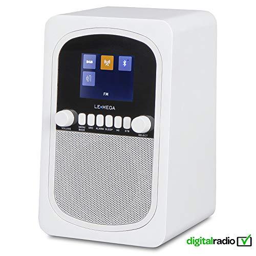 LEMEGA M1 Tragbares Digitalradio Wiederaufladbare Batterie Und Kabelloser Lautsprecher Mit DAB, DAB+, UKW-Radio, Bluetooth, Uhr Und Alarm - Satinweiß (Alarm-radio-bluetooth-uhr)