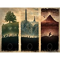 SKM Map Of Middle Earth The Lord Of The Rings Fabric Canvas Cloth Poster Print For Bar Office Room Wall Print Home Decoration 14x17.99inch