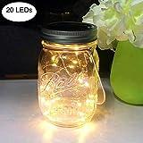 Solar Mason Jar Licht, 2 Meter 20 LED Wasserdichte Glas Hängeleuchte Fee Lichterkette Solarleuchten Einmachglas für Garten,außen, Weihnachten, Hof, Hochzeit, Party, Tisch, Baum (Warmweiß) - 1 Pack