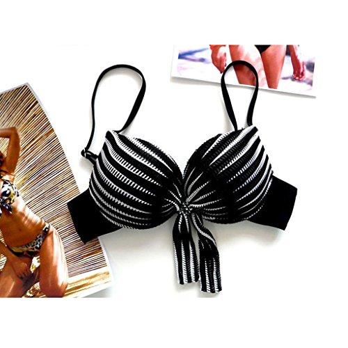 GWELL Frauen Sommer Strand Streifen Push Up Bikini Set Beachwear Bademode Schwarz