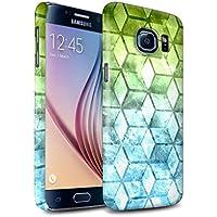 STUFF4 Matte Duro Snap On Custodia/Cover/Caso/Cassa del Telefono per Samsung Galaxy S6/G920 / Verde/blu / Colore cubo disegno