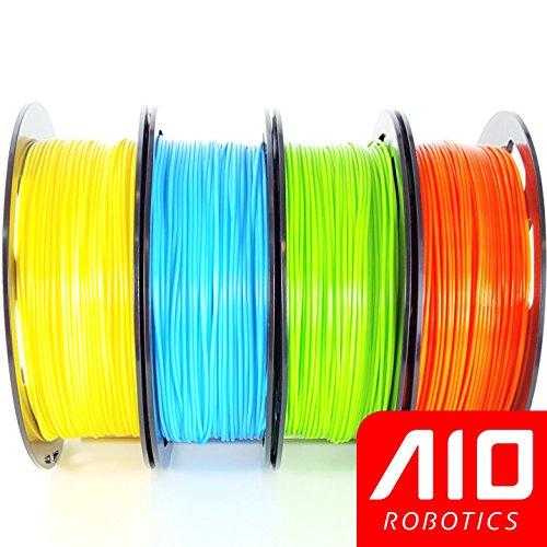 AIO Robotics Universelles Premium Filament Bundle, PLA, Helle Pantone Farben (Multi-Pack mit 4x 0.5kg Spulen), Gelb, Hellblau, Hellgrün, Orange - 1/2 Spule