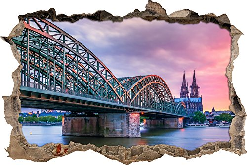 Pixxprint 3D_WD_S2357_92x62 atemberaubende Hohenzollernbrücke in Köln Wanddurchbruch 3D Wandtattoo, Vinyl, bunt, 92 x 62 x 0,02 cm