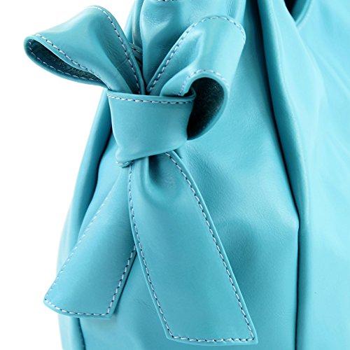 modamoda de �?borsa in pelle da donna borsa a mano borsa a tracolla borsa donna pelle nappa IT28 Hellblau