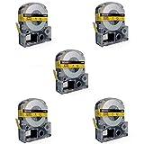 5 x Schriftband-Kassetten Epson SC12YW LC-4YBW LC-4YBW9 schwarz auf gelb (12mm x 8m) kompatibel für Epson LabelWorks LW-300 LW-300L LW-400 LW-500 LW-600P LW-700 LW-900P LW-1000P OK200 OK300 OK500P OK720 OK900P KingJim TepraPro SR230C SR530C SR3900C SR150 SR180 SR-PBW1 SR-RK1 SR300TF SR40 SR3700P SR550 SR530 SR330 SR6700D SR3900P SR950 SR750