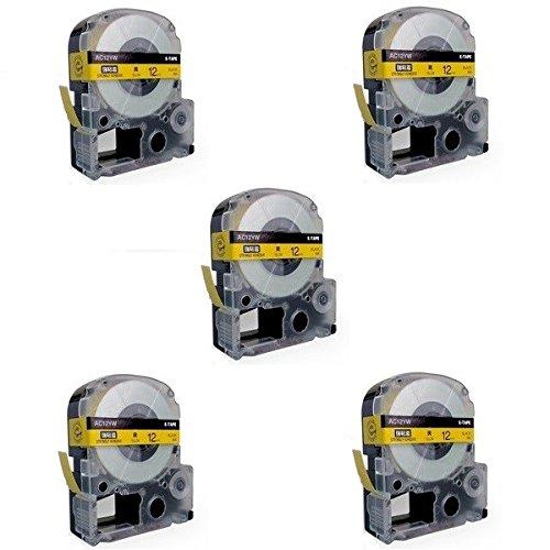 5 Kassetten LC-4YBW LC-4YBW9 SC12YW schwarz auf gelb 12mm x 8m Schriftband kompatibel für Epson LabelWorks LW-300 LW-300L LW-400 LW-500 LW-600P LW-700 LW-900P LW-1000P Beschriftungsgerät - Epson Farbband Kassette