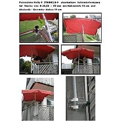 2 x Distance de parapluie -senkrecht anbringbarer ou horizontale-pivote à 360° brevetée-bALKONSCHIRME amovible support sTÖCKEvon 25 à 42 mm de diamètre de holly sTABIELO avec douille profonde 11 et 13 cm distance cm de long de l'axe de filetage pour fixation murale avec support mULTI - 5 compartiments orientable à 360° kratzfreien gUMMISCHUTZKAPPEN de fixation pour attaches de ronds ou carrés éléments de 25 à 55 mm-fabriqué en allemagne-innovation en allemagne-holly ® produits sTABIELO holly-- sunshade ®-sCHIRMENSTÖCKEN jusqu'à ø 55 mm, 2 supports de fixation ou 2-te utiliser pour des raisons de sécurité, serre-câbles)
