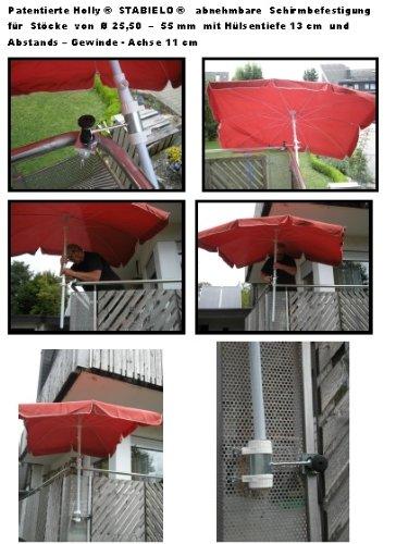 Lot de 2 porte-parapluie-bâtons de 25,5 à 42 mm de diamètre avec bec orientable à 360° brevetée bALKONSCHIRME amovible-fixation pour bâton 25,50 mm de diamètre au maximum sTABIELO holly douille de 13 cm et profond de longue distance de 11 cm-filetage-axe de fixation par 5 mULTI-support réglable à 360° avec gUMMISCHUTZKAPPEN kratzfreien attaches pour fixation à ou ronds éléments carrés de 25 à 55 mm-fabriqué en allemagne-innovation holly-fabriqué en allemagne ® produits sTABIELO-holly-sunshade ®-sCHIRMENSTÖCKEN jusqu'à ø 55 mm, 2 supports de fixation ou 2-te utiliser pour des raisons de sécurité (kabelbinder)
