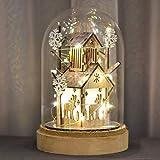 Valery Madelyn 20cm Glasglocke LED Weihnachten Beleuchtung Glaskuppel Weihnachtsdekoration In den Wald Thema mit Lichterkette und Holzboden Batteriebetrieben Nachttischlampe für Weihnachtsschmuck