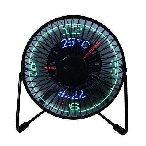 LEDMOMO Mini ventilador USB de escritorio de la visualización del reloj de la CPU Ventilador portátil de la exhibición de la temperatura en tiempo real para la casa y la oficina